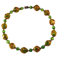 Amber and Green Venetian Glass Foiled Beads Necklace