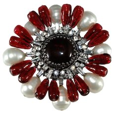 "GRIPOIX Paris Brooch Pin Marked 3.25"" Rhinestones & Faux Pearls Red Glass"