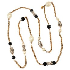 Gripoix Paris Necklace Sautoir Rhinestones Faux Pearls After Chanel
