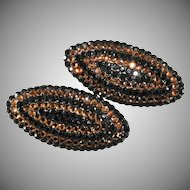 Barbara Groeger 2.25 Inch Black and Light Brown Rhinestone Earrings 1980s Richard Kerr Style