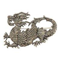 Heidi Daus LARGE Brooch Chinese Dragon Gray Rhinestones Mythical Madness