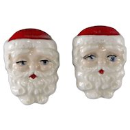 Porcelain Santa Claus Earrings Vintage Christmas