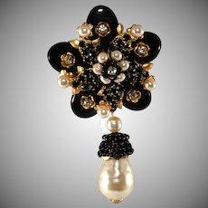 Stanley Hagler Black Glass Faux Pearl Flower Brooch Pin St. Gielar