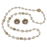 Miriam Haskell Pearlescent with Blue Seed Beads Necklace Earrings Set