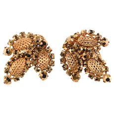 Miriam Haskell Earrings LARGE Filigree Arum Rhinestones Vintage