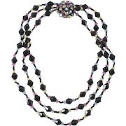 Miriam Haskell Pastel Rhinestones Black Beaded Necklace