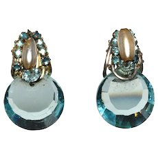 Miriam Haskell Blue Disk and Faux Pearl Earrings Vintage