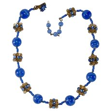 Miriam Haskell Blue Bead and Cabochon Necklace Vintage