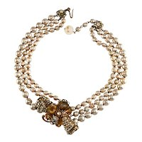Miriam Haskell Necklace Bow Faux Pearls Rhinestones Vintage Triple Strand