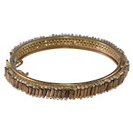 Miriam Haskell Hinged Bangle Bracelet Bronze Beads Vintage