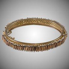 Miriam Haskell Hinged Bangle Bracelet Bronze Beads Vintage