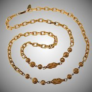 Miriam Haskell Chain Necklace with Filigree Accents Vintage