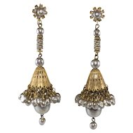 Miriam Haskell 4 Inch Faux Pearl Dangle Earrings Vintage