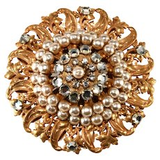 Miriam Haskell Classic Faux Pearl and Rhinestone Brooch Pin Vintage