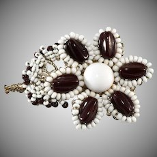 Miriam Haskell Beaded Flower Brooch Pin Brown and White Glass
