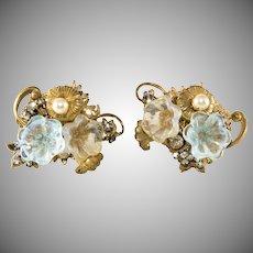 Miriam Haskell Blue Glass Flower Earrings Vintage