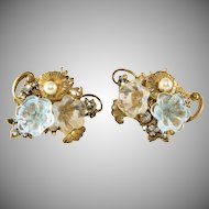 Miriam Haskell Glass Flower Earrings Vintage