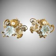 Miriam Haskell Glass Flower Earrings Vintage