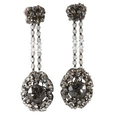 Miriam Haskell 3.25 Inch Gray and Clear Rhinestone Dangle Earrings Vintage