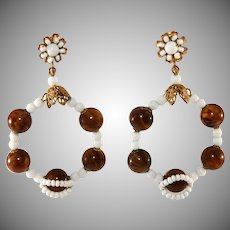 Miriam Haskell White Dangle Hoop Earrings with Brown Beads Vintage