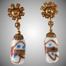 Miriam Haskell Venetian Glass Dangle Earrings Vintage