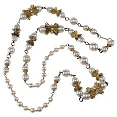 """Miriam Haskell 30"""" Faux Pearl Necklace with Filigree Findings"""