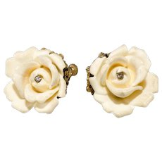 Miriam Haskell Faux Ivory Rose Earrings