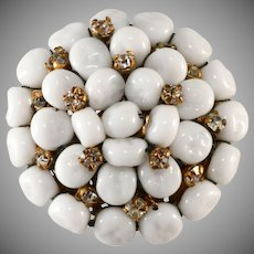 Miriam Haskell White Beaded Brooch with Rhinestones Vintage