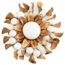 Miriam Haskell Brooch White Beads Gold Plated Petals Flower Round Vintage Pin
