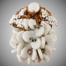 Miriam Haskell White Dangle Bead Brooch Pin with Rhinestones