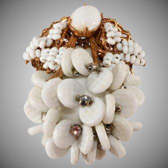 Miriam Haskell White Dangle Bead Brooch Pin with Rhinestones