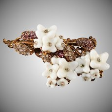 Miriam Haskell Brooch Pin White Flowers Seed Beads 1940s