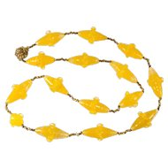Miriam Haskell Yellow Lampwork Bead Necklace Vintage