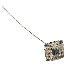 Sapphire Blue and Clear Rhinestone Hatpin Hat Pin Antique