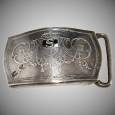 Hickok Silver Plate S Initial Belt Buckle