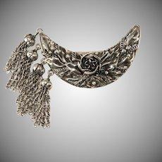 Hobe' Sterling Silver Tassel Crescent Brooch Pin Vintage 1940s