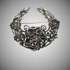 Hobe' Brooch Pin Crescent Floral Sterling Silver 1940s