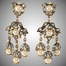 Hobe' Earrings Faux Pearl Rhinestone Dangles Drops Vintage