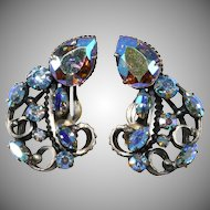 Iridescent Aurora Borealis Earrings Florenza Art Style