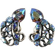 Iridescent Aurora Borealis Earrings Florenza Art Style