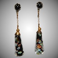 Italian Glass Dangle Earrings Vintage