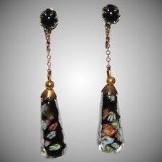 Italian Glass Dangle Earrings Vintage