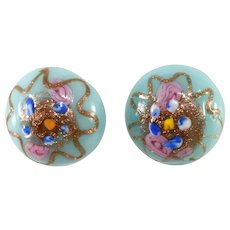 Italian Venetian Glass Wedding Cake Blue Button Earrings Vintage