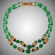 Jade Green Glass Asian Styled Bead Necklace