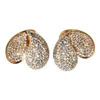 Jarin Front Back Earrings Clear Rhinestones LARGE Pave Set Vintage