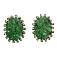 Jomaz Earrings Asian Inspired Jade Glass Clear Rhinestones Vintage Clips