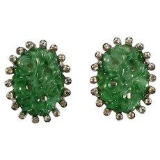 Jomaz Earrings Asian Inspired Jade Glass Clear Rhinestones Vintage Clips