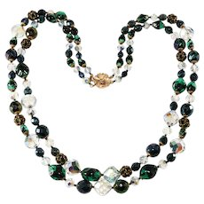 Jonne' by Schrager Green and Black Two Strand Bead Necklace Vintage