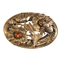 Joseff of Hollywood 1940s Brooch Bee Flower Amber Glass Cabochons Vintage