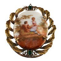 Joseff of Hollywood HUGE Cameo Style Brooch Pin Vintage